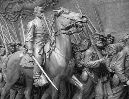 Restored plaster cast of the Memorial to Robert Gould Shaw and the Massachusetts Fifty-Fourth Regiment at the National Gallery of Art, Washington D.C.