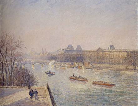 Morning, Winter Sunshine, Frost, the Pont-Neuf, the Seine, the Louvre, Soleil D'hiver, by Camille Pissarro, 1901.