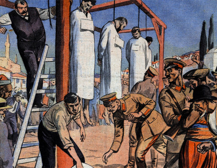 Detail from the front cover of French newspaper Le Petit Journal Illustré, covering the execution of the 15 deputies, 1 August, 1926.