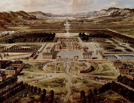 View of Versailles from the Avenue de Paris, ca. 1662 by Pierre Patel. This was how Versailles looked before Louis XIV began enlarging the château.