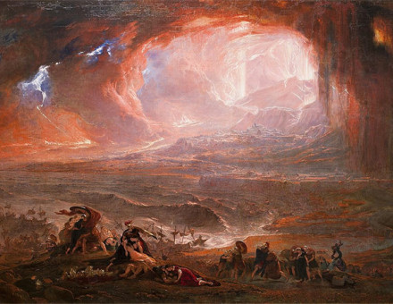 The restored version of John Martin's Destruction of Pompeii and Herculaneum