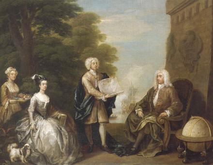 Rogers (right) receives a map of New Providence Island from his son, in a painting by William Hogarth (1729)Rogers (right) receives a map of New Providence Island from his son, in a painting by William Hogarth (1729)