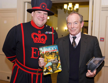 Winner of the Trustees Award, Simon Jenkins, with a beefeater