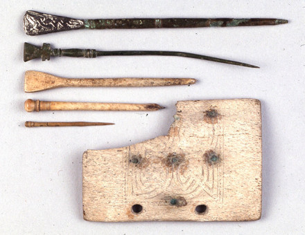 School tools: whale-bone writing-tablet and styluses from the middle Anglo-Saxon period