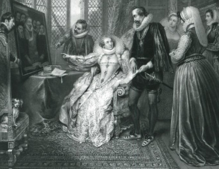 Queen Elizabeth, attended by her Secretary, Sir Francis Walsingham, detecting Babington's conspiracy, by John Charles Bromley, 1830.