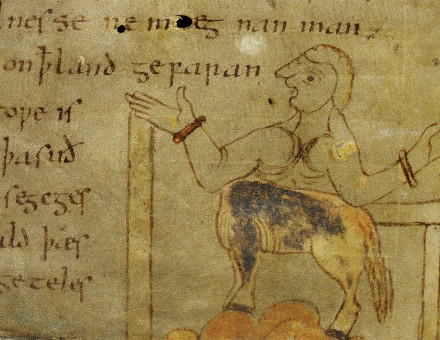Here be monsters: a centaur, or homodubius, from Wonders of the East in the Nowell Codex, c.1000.