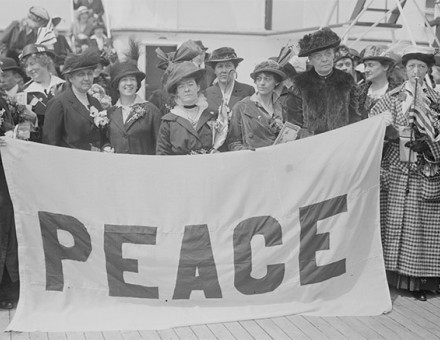Protesting for peace: US delegates, including Jane Addams (second from left, front), travel to the Congress.
