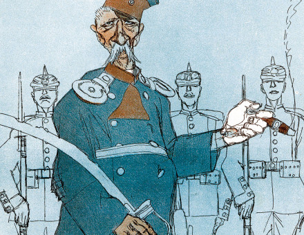 O Captain!: Wilhelm Voigt as  drawn by Ernst Kellermann in Simplicissimus, 12 January 1906.
