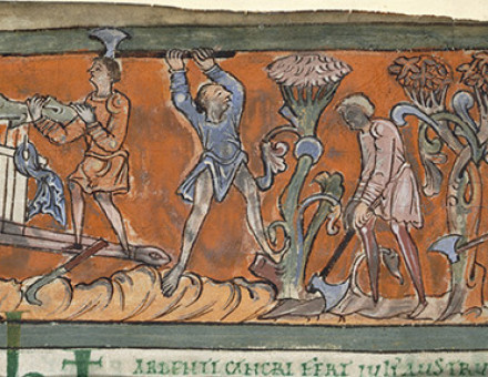 Cutting and loading wood: from an Anglo-Saxon calendar page for July, 11th century