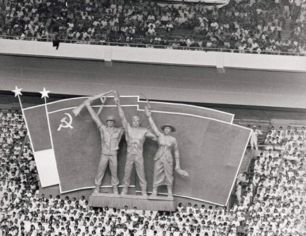 Members and supporters of the Indonesian Communist Party gather for its 45th anniversary in Jakarta's Soviet-built sports stadium, 23 May 1965.