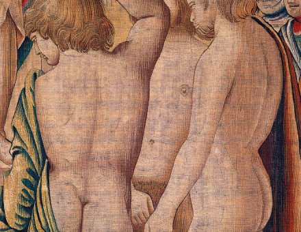 Boys just want to have fun: February scene from the Trivulzio tapestry, by Benedetto da Milano, after a design by Bramantino, Milan, 1504-9.