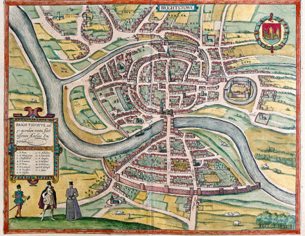 A map of Bristol, 1581. Worcester was born north-west of the city's castle.
