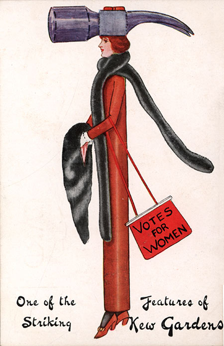 Satirical postcard showing a suffragettes in costume, c.1913. Mary Evans Picture Library