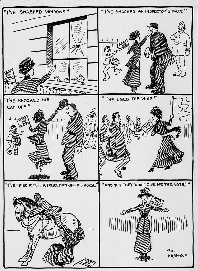 Daily Mirror cartoonist W.K. Haselden comments on the early violence of suffragettes, July 2nd, 1909. Courtesy the British Cartoon Archive