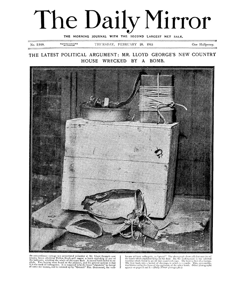 One of two bombs discovered in Lloyd George's cottage, February 20th, 1913. Mirrorpix