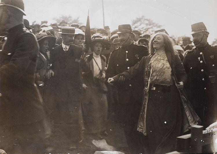 Kitty Marion is arrested after heckling Lloyd George at the Royal National Eisteddfod, Wrexham, September 5th, 1912. Museum of London