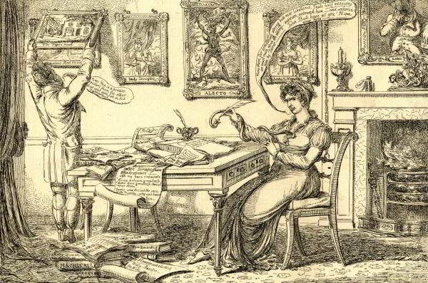 'Lady P Aragraph championizing', a satirical print of 1814 which shows Lady Perceval writing 'strong but not libellous' pieces for newspaper publication via an intermediary