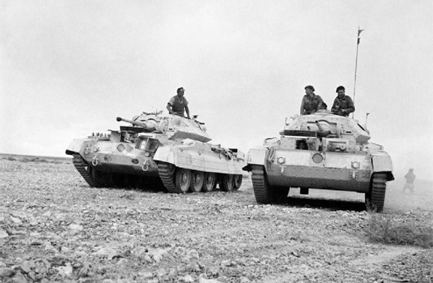British tanks advancing in the desert