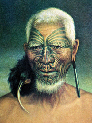 Tattooed Maori chief Tukukino, New Zealand, c. 1880