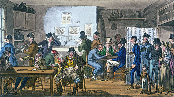 An illustration by Robert Cruikshank to the 1821 edition of Egan's Life in London shows debtors in the Fleet Prison