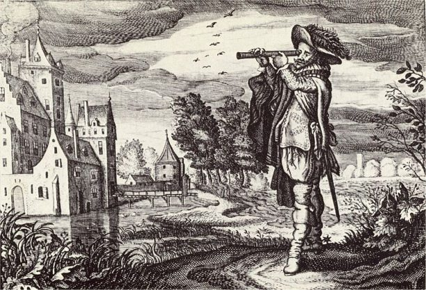 "Early depiction of a 'Dutch telescope' from the ""Emblemata of zinne-werck"" (Middelburg, 1624) of the poet and statesman Johan de Brune (1588-1658)."