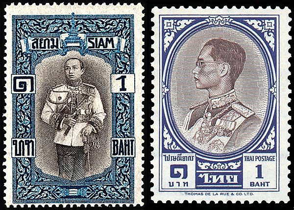 Stamps commemorating King Rama VI (left) and King Rama IX (right).