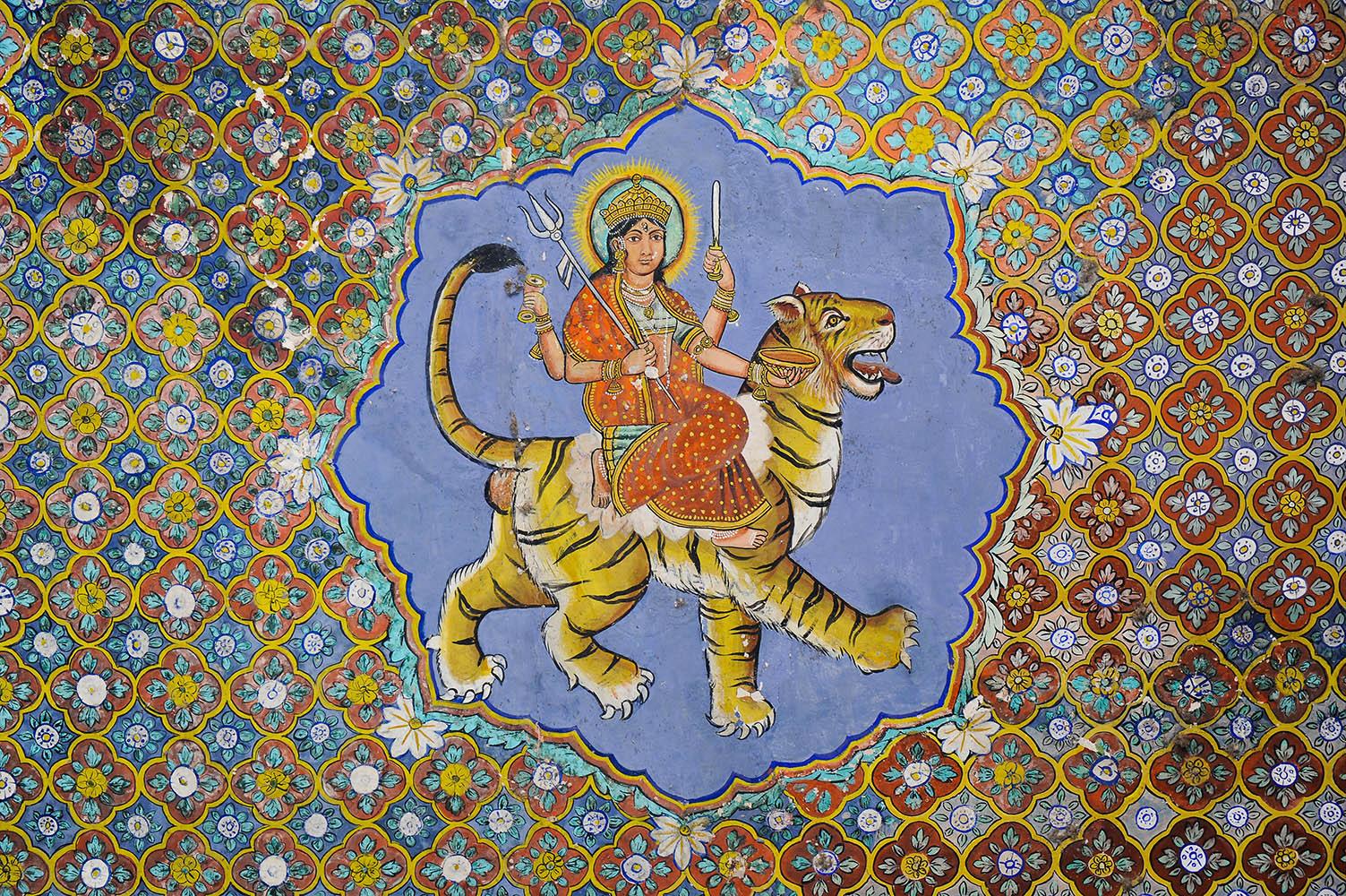 Hindu goddess Durga riding a tiger, Kota, Rajasthan, c.1800.