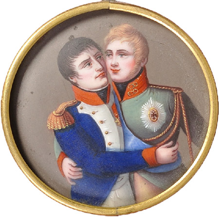 French medallion dating from the post-Tilsit period showing Napoleon and Tsar Alexander I embracing