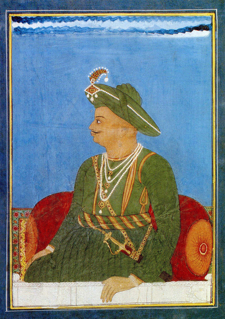 Portrait of Tipu Sultan, ruler of the kingdom of Mysore.