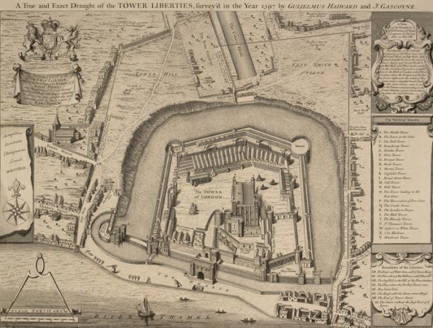 "A plan of Tower of London and its Liberties in 1597; the title reads ""A True and Exact Draught of the TOWER LIBERTIES, survey'd in the Year 1597 by GULIELMUS HAIWARD and J. GASCOYNE""."