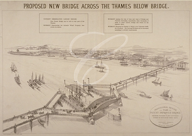 Design by Frederic Barnett for a 'duplex' low-level Tower Bridge, which would have allowed 'uninterrupted continuity of vehicular and general traffic'