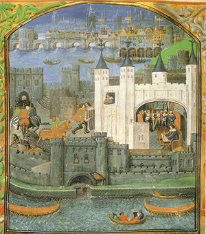 The Tower of London depicted in the 1500s