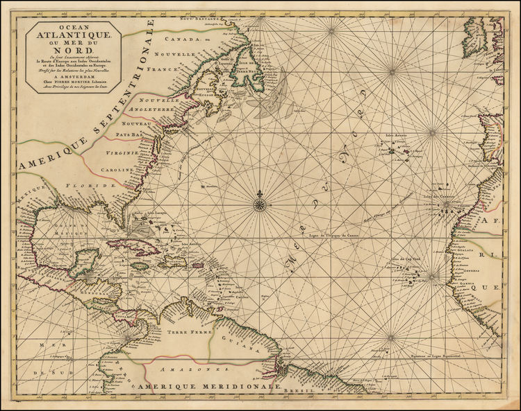 17th Century Dutch Sea Chart of the The East Coast of America and the Atlantic Trade Route, illustrating the modern European Trade Routes to the West Indies and  Eastern Coast of America at the end of the 17th Century.