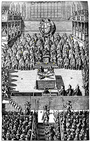 "A plate depicting the Trial of Charles I in January 1649, from John Nalson's ""Record of the Trial of Charles I, 1688"" in the British Museum."