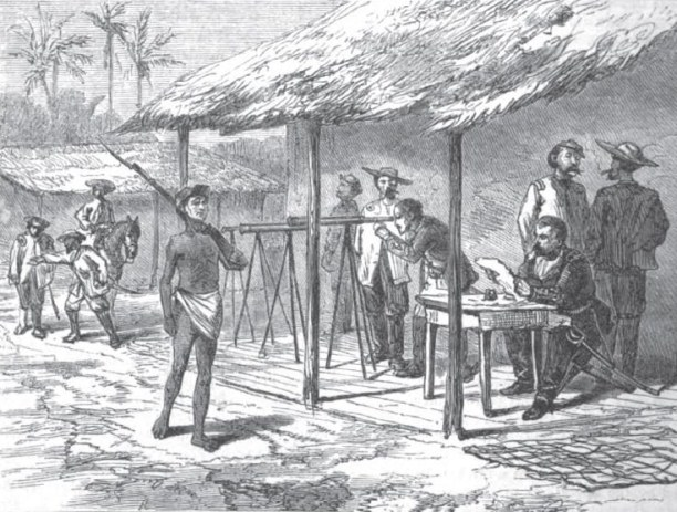 A Paraguayan soldier late in the war on sentry duty at López' headquarters. Copied from Harper's New Monthly Magazine, Vol. 40 (1870).