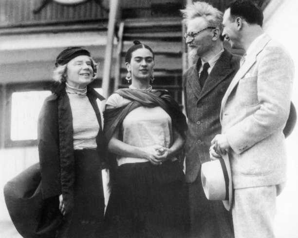 Leon Trotsky (second right) and his wife Natalya Sedova (far left) are welcome to Tampico Harbour, Mexico by Frida Kahlo and the US Trotskyist leader Max Shachtman, January 1937. Getty Images/Gamma-Keystone