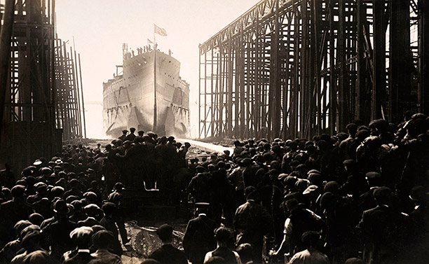 The Turkish battleship Resadiye (later HMS Erin) is launched at Vickers' Works, Barrow in 1913