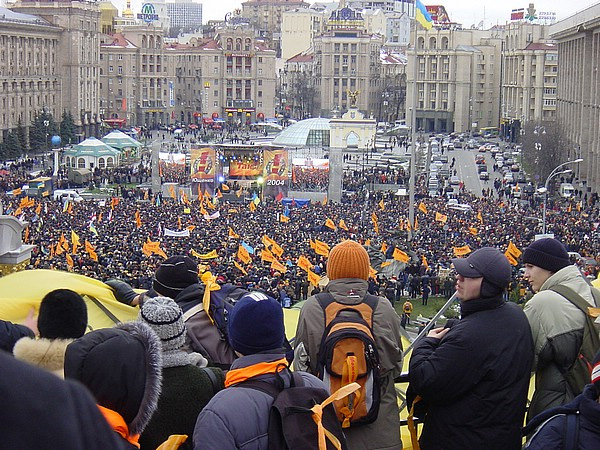 Protesters at Independence Square on the first day of the Orange Revolution, 2004