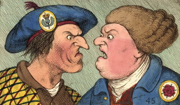 'Sawney Scot and John Bull', an English print published in 1792. 'Sawney' was an English nickname for a Scotsman