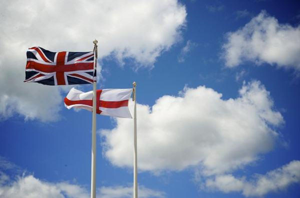 The Union Flag flying beside the Flag of England.