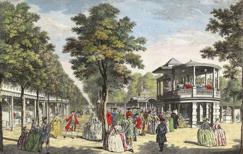 'Vauxhall Gardens showing the Grand Walk at the entrance of the Garden and the Orchestra with the Musick Playing', print published in London, 1751