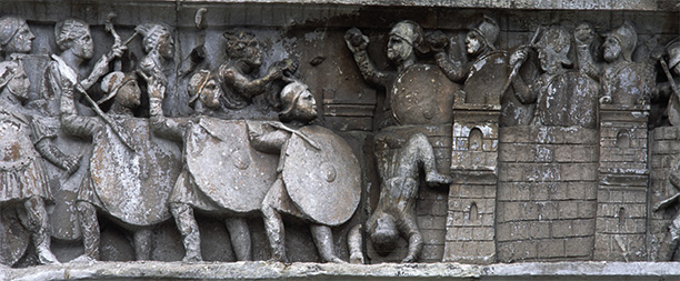 Relief showing the battle of Verona on Constantine's arch in Rome. AKG Images/Bildarchiv Steffens