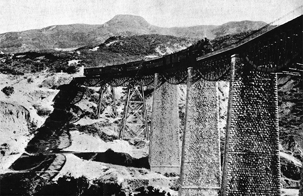 The Gorgonpotamos viaduct blown up in 1942 by SOE and subsequently rebuilt.