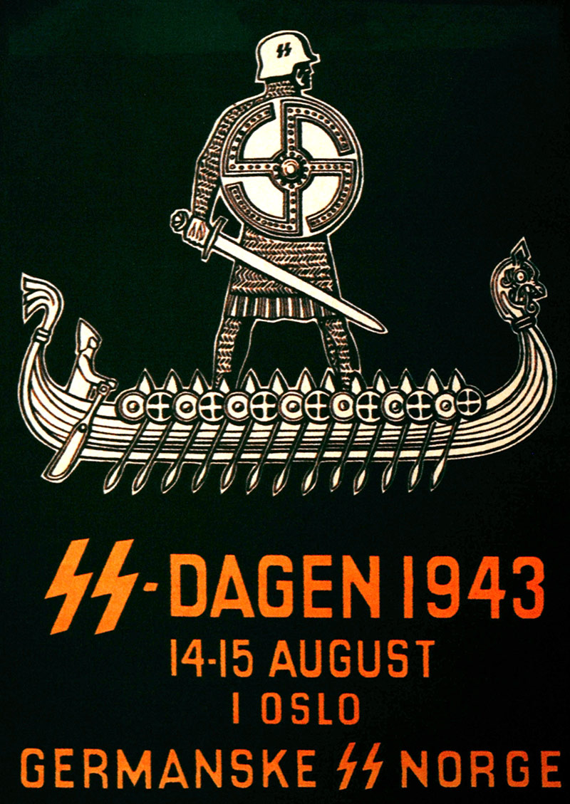 Waffen-SS propaganda poster to recruit Norwegian men during the Nazi occupation of Norway, 1943.