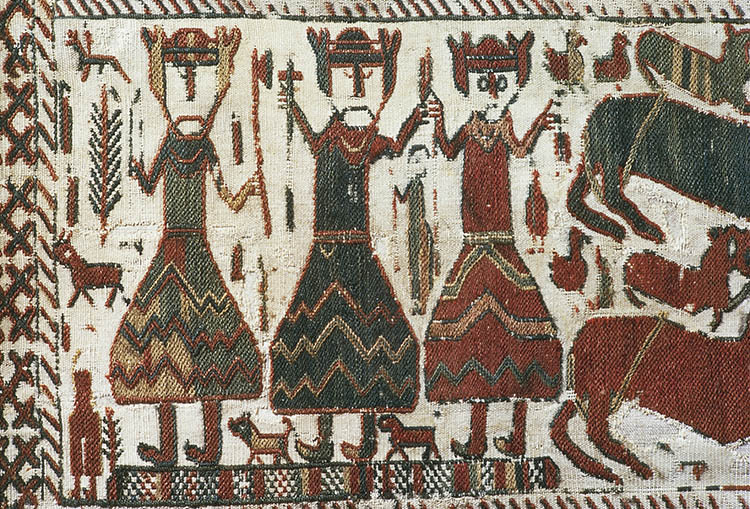 Detail from the Skogchurch Tapestry depicting the Norse Gods Odin, Thor and Freyr, Sweden, 12th century.