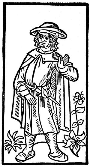 The very image of a poet: a woodcut of Villon, from the first edition of 'Le Grand Testament', 1489