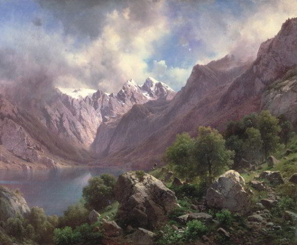 'An Alpine Lake', a landscape of 1867 by Karl Millner