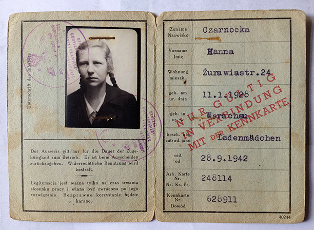 Polish patriot: Hanna Czarnocka's German-issued identity papers