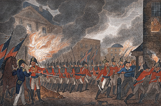 Washington in flames, August 24th 1814, a contemporary English engraving.