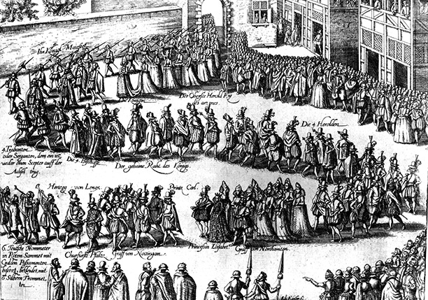 Procession for the wedding of Elizabeth to Frederick V. An engraving by Abraham Hogenberg, c. 1613